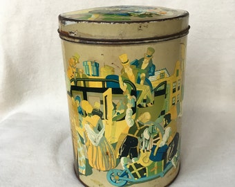 great nostalgic Tin/container with image village scene
