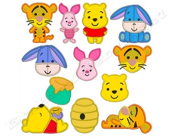 WINNIE THE POOH - Machine Applique Embroidery - Patterns - Instant Digital Download