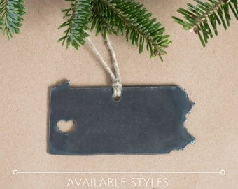Rustic Pennsylvania Steel Christmas Tree Ornament, Stocking Stuffer, Holiday Gift, Rustic Decor