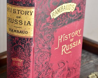 """Vintage volume of """"History of Russia from the Earliest Times to 1880"""" Volume II by Alfred Rambaud printed in 1879 Antique"""