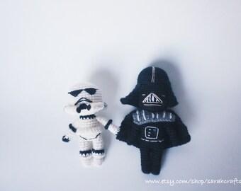 4 inches starwars keychain,crocheted starwars,crocheted darthvader,crocheted stormtrooper,amigurumi