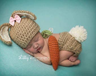 Newborn Baby Bunny Hat, Carrot, Diaper Cover, Photography Props, Made to Order