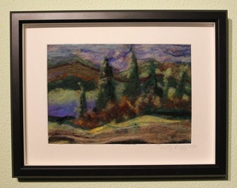 "Felt Painting, Needle Felted Framed Painting ""Presentiment"", Felted Wool Painting"