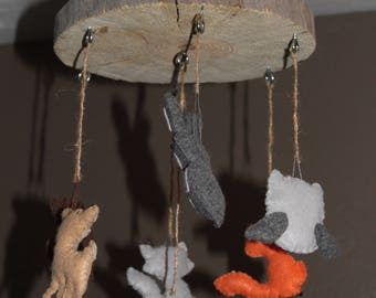 Rustic Nursery Mobile-Woodland Nursery Mobile-Woodland Animals-Baby Shower Gift-Mobile