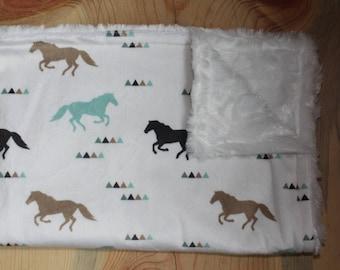 Horse Blanket-Horse Baby Blanket-Horse Nursery-Horse Room-Horse Decor-Minky Blanket-Baby Shower Gift-Horse Lover-Baby Gifts-Horse Lovey