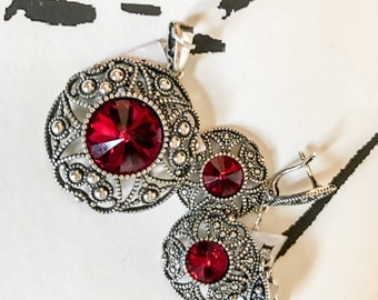 Sterling Silver / Red Cut Glass Pendant & Matching Earings