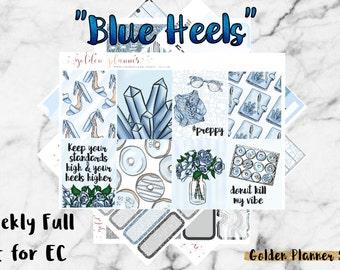 Blue Heels Weekly Sticker Full Kit, Planner Stickers for Erin Condren Vertical Planner