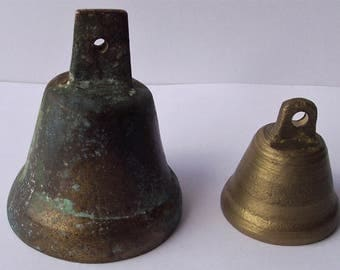 2 Vintage brass bells, Old Tinkler, Farmhouse decor bells, Primitive brass bell, Collectible bells, Farm decor, House gift, Small bras bell