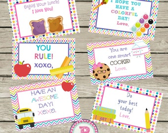 ON SALE 12 Lunch Box Notes Instant Download Digital File School Milk Cookies Peanut Butter Jelly Boy or Girl Love Back to School You Rule