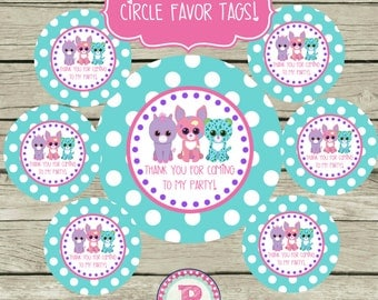 Pet Adoption Party Adopt a Pet Party Birthday Party Circle Favor Tags Printable 2.5 inch and 2 inch circle Puppy Kitten Thank You Panda Bear