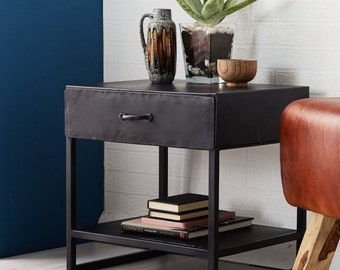 Metallica black iron 1 drawer side/lamp table/bedside - Modern industrial design