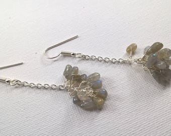 Genuine Labradorite earrings, Labradorite cluster drop earrings with 925 silver plated shepherd hooks, grey gemstone earrings.