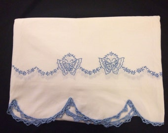 Vintage Hand Embroidered Blue Butterfly Floral Scallop Edge Flat Sheet 90 X 100