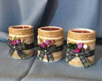 Three Wedding Jars Candles Table Centrepieces Set