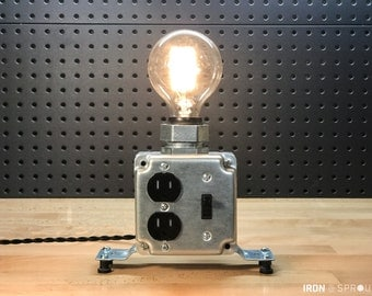 Industrial Desk Lamp (Raw) - Charging Station - Cell Phone Charger - Edison Bulb - Steampunk Lamp - Office Decor - Table Lamp