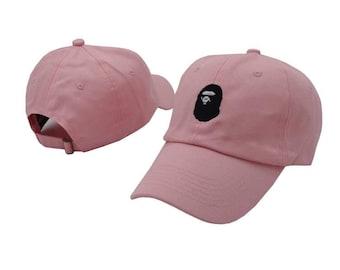 Pink bape baby milo bathating ape classic baseball cap