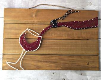 Wine String Art / Red Wine Decor / Wine Wood Decor