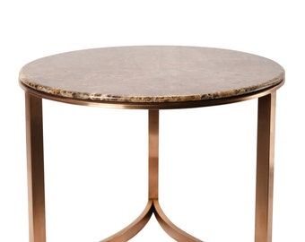 """Coffee Table /Round Marble Contemporary Coffee table / Stainless Steel / Rose Gold /End table/ Height 19"""""""