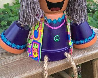 Clay pot hippy girl