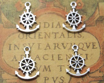 25pcs Anchor Charms Silver Tone anchor with Ship Wheel, rudder charm 18x11mm ASD0948