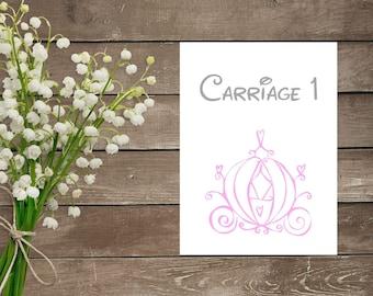 Digital Cinderella Table Numbers - Elegant Cinderella Wedding Table Numbers - Cinderella Wedding - Disney Wedding - Cinderella Theme