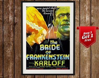 The bride of frankenstein- Boris Karloff, Bride frankenstein, Frankenstein, Universal monsters, Bride of frankenstein poster, Vintage poster