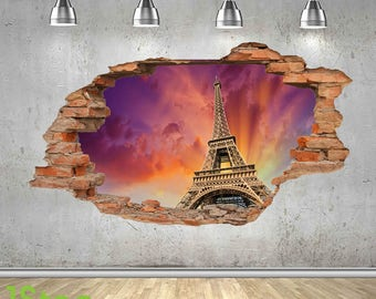 Paris Wall Sticker 3d Look - Bedroom Lounge Eiffel Tower City Wall Decal Z429