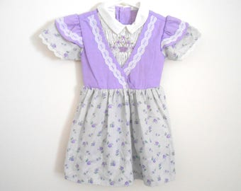 Lilac Field Dress Polly Flinders Vintage Little Girls Size 4 Hand Smocked Purple Floral Print Flutter Sleeves 1980s Lace Party Ruffle Cute