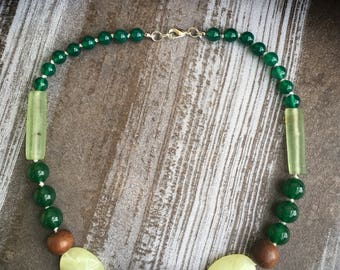 Wooden necklace, jade, glass, ceramic, green onyx, green necklace, handmade necklace, boho necklace, recycle necklace, nature necklace.