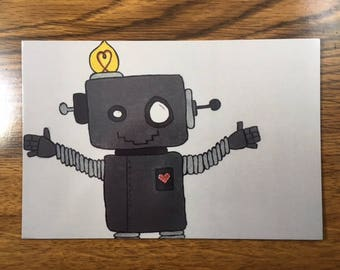 """Robots Postcard- Cute I Love You Note Stationery- Original Robot Art Print:  """"The Whimsical Robot"""""""