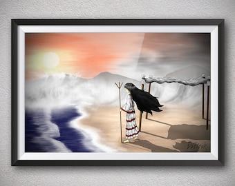 Wanderer Single girl Desert Seashore Sand storm Sunset Barefoot walking Black hair Long hair Long dress Loneliness Warm colors