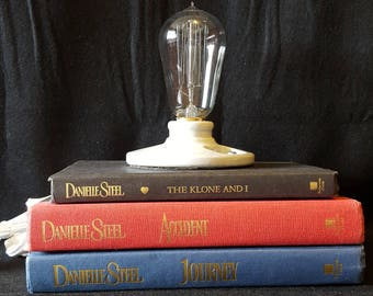 Recycled/Upcycled Stacked Book Lamp – Danielle Steel Themed - Edison Bulb - Steampunk Vintage Look