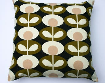 Scandinavian style oval flower print cushion in green, charcoal and pink (cushion pad included)