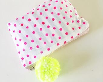 Pink Dot Zippered Clutch