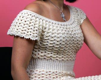 Knitted dress, crochet dress, summer dress, irish lace dress, melange dress, openwork dress, blue dress, purple dress, handmade dress