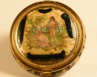 Vintage Compact - Pastoral Scene With Tapestry Back