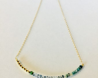 NRDC Solidarity Necklace | Dainty, Blue and Green Crystal and 14k Gold Filled, Rose Gold Filled, or Sterling Silver, Cause-Inspired Necklace