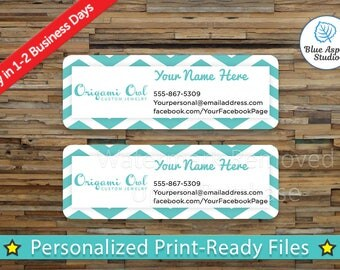 Origami Owl Labels Stickers Printable Return Address Label Digital Printed Personalized Name Custom PDF Sticker Green Chevron ORG-AL105