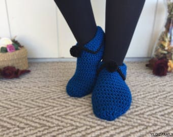 Blue Hand Knitted Slippers with Black Pompoms, Traditional Turkish Patik, House Shoes, Handmade, Blue, Black