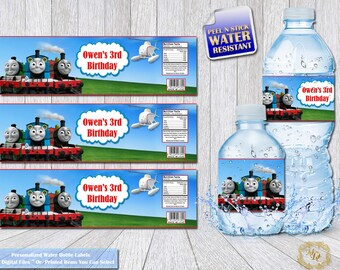 Thomas The Train Water Bottle labels.Thomas The Train.Water Bottle Labels.Thomas.Party labels. DIY. Thomas and Friends Bottle labels.