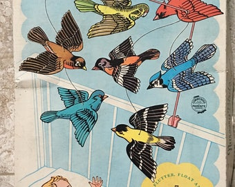 Vintage 1950s Nursery Mobile/Birds and chimes