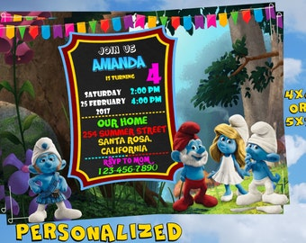 Smurfs Invitation. Smurfs Birthday Invitation. Smurfs Party Invitation. Smurfs Birthday Party. Smurfs PERSONALIZED - ONLY FILE. Invitation