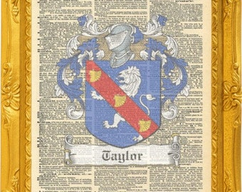Taylor Irish Family crests artwork. Irish family name coat of arms. Vintage Prints