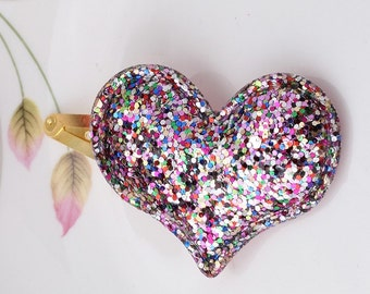 Heart Hair Clip, Rainbow heart hair, Toddler Hair Clip, Girls Hair Clips, Glitter Hair clip , Rainbow Heart Hair Clip