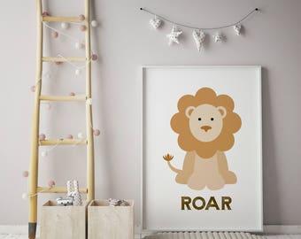 Roar Wall Art, Lion Artwork, Nursery Wall Art, Nursery Art, Giraffe Art, Kids Wall Art, Baby Wall Art, Baby Artwork, Lion Wall Art