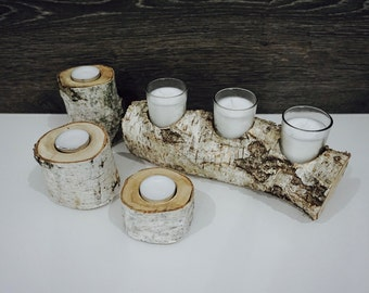 Rustic Birch Wood Log Candle Holder Set, Birch wood Log that holds 3 candles and 3 Individual Candle Log Holders.