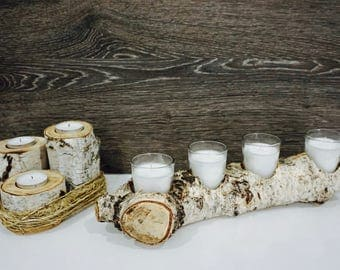 Rustic Birch Wood Log Candle Holder Set, Wedding Decor, Log for 4 Candles and Twine Wrapped set of 3 candles, Birch Wood