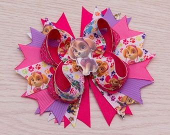 Hot Pink Paw Patrol - Sky Patrol hair bow - Paw Patrol Birthday - Paw Patrol Party - Paw Patrol Shirt - Paw Patrol Favor - Paw Patrol Dress