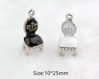 10pcs/lot Loverly Chair with Crown Charms Pendant ,Oil Chairs Charm Diy Accessories,Phone/ Bracelet/ Necklace Pendants, Findings Jewelry