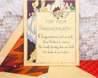 Vintage 1920s Anniversary Card with Envelope